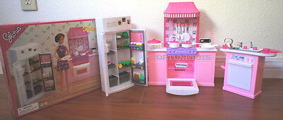 GLORIA DOLL FURNITURE Deluxe KITCHEN W/REFRIGERATOR & Sink FOR Barbie
