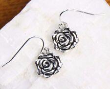 925 sterling silver earrings charm Rose bud Flower pewter charm hook dangle