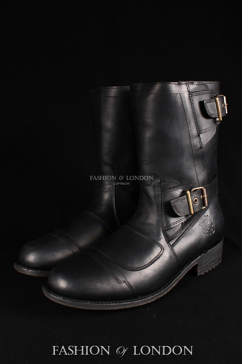 Men's GRINDERS ROUTE 66 Black Biker Motorcycle Cowboy Mid-Calf Leather Boots