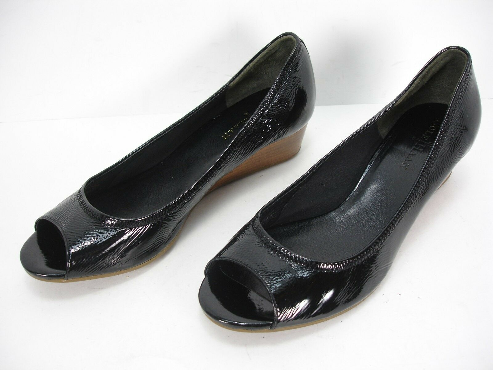 COLE HAAN BLACK PATENT LEATHER WEDGES PEEP TOE Schuhe WOMEN'S 8.5 B MINT