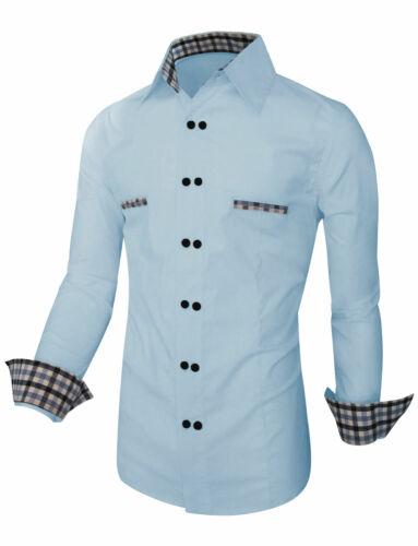 Men/'s Casual Shirt Double Button Slim Fit Long Sleeve Formal Dress Shirt Tops