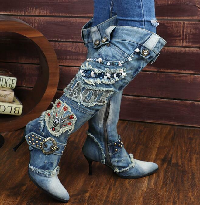 Lady Vogue Knee High Boots Pointed Toe Patchwork bluee shoes Denim Rivets Ridding