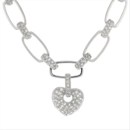Sterling Silver Pave CZ Link Necklace w// Heart Charm