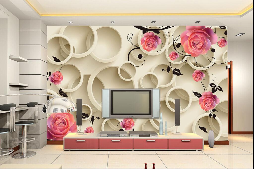 3D pinks, circles 588 Wall Paper Print Wall Decal Deco Indoor Wall Murals