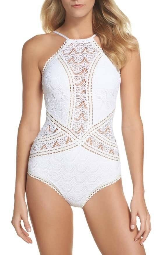 Becca Crochet One-Piece Swimsuit, White, Large