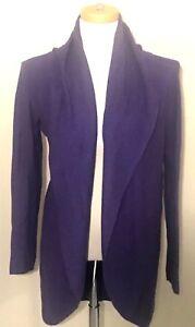 Eileen-Fisher-womens-Sz-S-Cardigan-Sweater-Purple-Linen-Open-Front-Thin-Long