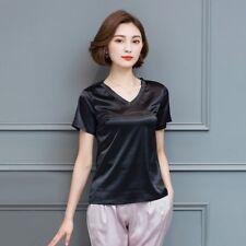 2972173005 item 4 Women Satin Silk Like Short Sleeve T-shirt Lady V Neck Solid Tops  Cosy Sleepwear -Women Satin Silk Like Short Sleeve T-shirt Lady V Neck  Solid Tops ...