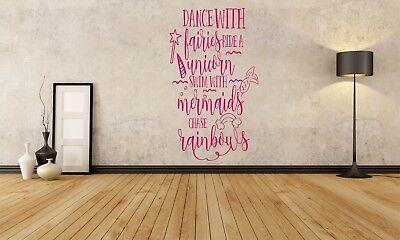 DANCE WITH FAIRIES RAINBOWS MERMAIDS WALL ART VINYL DECAL STICKER UNICORNS