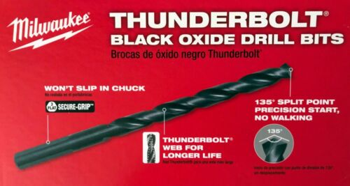 """1 Tube Milwaukee 8 Pièce 1//4/"""" Noir Thunderbolt oxyde perceuse embouts 48-89-2908"""