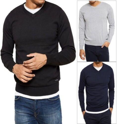 Threadbare Herren Bleak Pullover Leicht Gestrickt V-Ausschnitt Smart Pulli