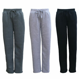 New-Womens-Ladies-Fleece-Lined-Wide-Leg-Sweat-Track-Pants-Jogger-Sports-Trackies