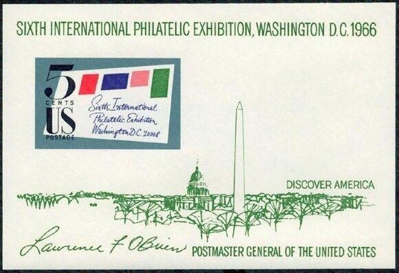 1966 5c SIPEX Souvenir Sheet, Washington D.C. Scott 131