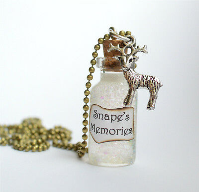 Snape's Memories Glass Bottle Necklace Pendant, Harry Potter Inspired Jewellery