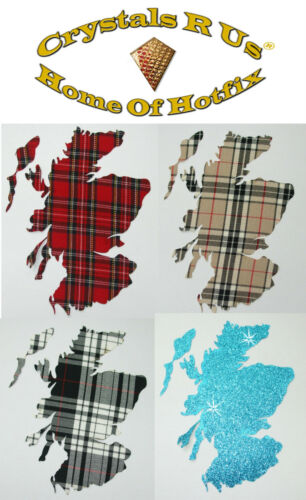 FABRIC Scottish tartan MAP iron-on CUSTOMIZE DIY FUN PARTY CLOTHE TRANSFER PATCH