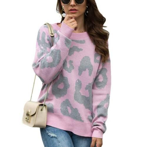 Feinstrick Pullover Damen Leopardenmuster Langarm Strickpullover Sweatshirt Tops