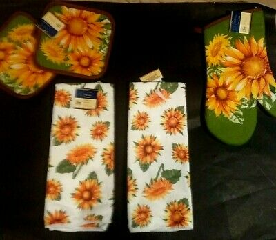 Sunflowers:-Choice Of Potholders or Oven mitt or Kitchen towels or BUY Set SAVE