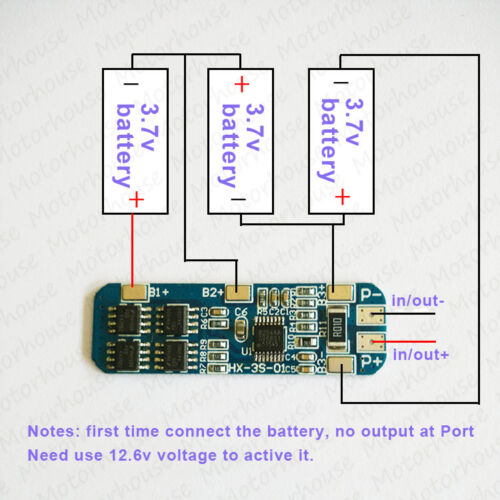 3s Li-ion Batería de litio 18650 14450 3 celdas de entrada salida de protección PCB 12.6V