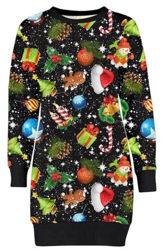 Ladies Long Sleeve Snowflakes Gift Xmas Novelty Sweatshirt Jumpers 8-22