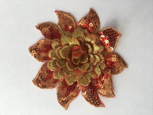 3D sequins embroidered applique flower patch sewing bridal prom 8 cm diameter
