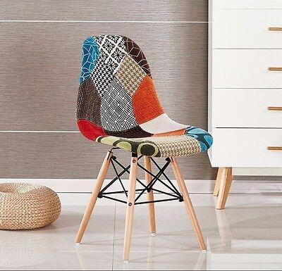 Moda Patchwork Eiffel Chaise pour Salle à Manger Salon Tissu Rétro Vintage | eBay