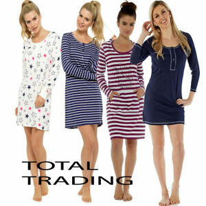 Image is loading Ladies-Long-Sleeve-Night-Shirt-Nightdress-Nightie- Nightshirt- bc9730931