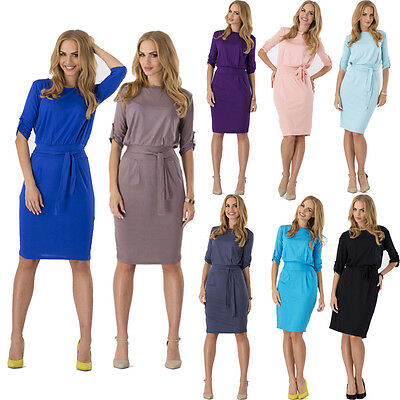 Women Ladies OL Work Tunic Casual Evening Party Cocktail Pencil Dress With Belt