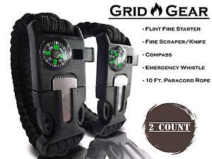Grid-Gear-TACTICAL-GEAR-Black-Ops-PARACORD-BRACELET-8-034-DIAMETER-Brand-New