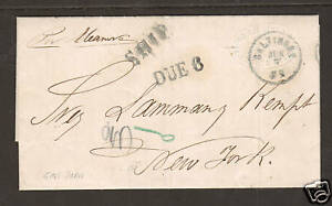Puerto-Rico-1862-Stampless-Ship-SFL-to-NY-SHIP-amp-Due-6-handstamps
