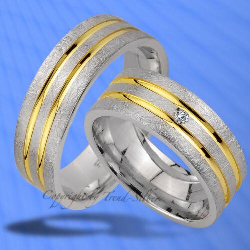 2 SILBER Trauringe Verlobungsringe GOLD PLATIERT J174-1