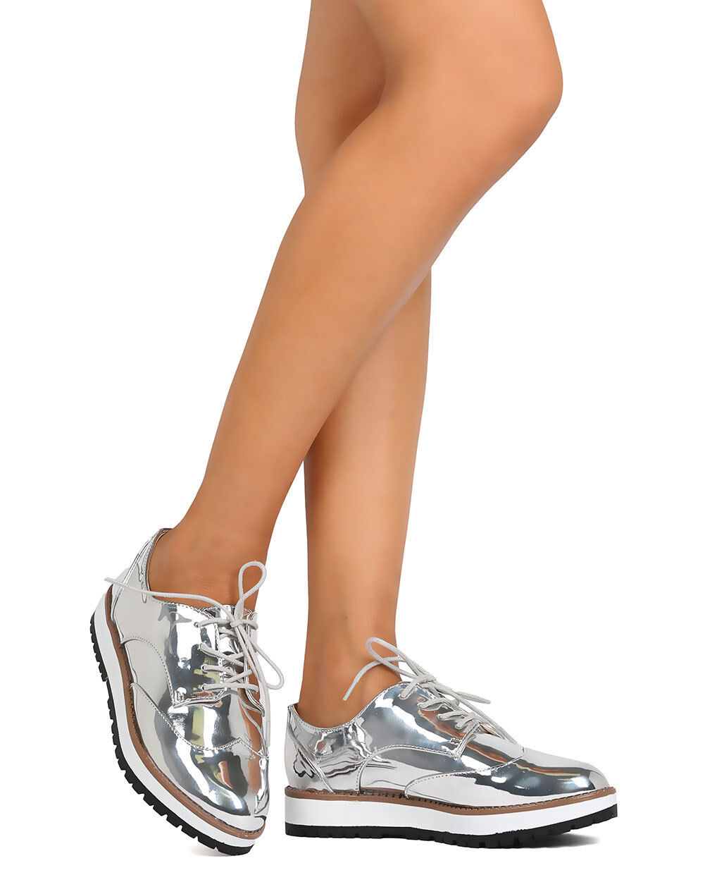 New Women Qupid Newbie-15 Metallic Leatherette Lace Up Spectator Loafer