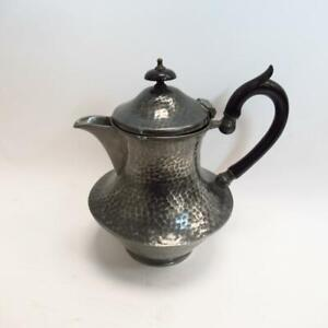 Vintage Hand Hammered Pewter Tea/Coffee Pot w/ Rounded Handle- Sheffield England
