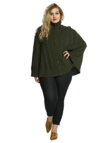 HOT TOPIC TORRID PLUS OUTLANDER CABLE KNIT CAPE SI