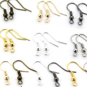 Wholesale-DIY-100PCS-JEWELRY-Making-Findings-Earring-Hook-Coil-Ear-Wire-Hot
