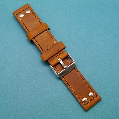 22mm HQ Crazy Horse Cowhide Leather BROWN Watch Strap Siilver Tone Buckle