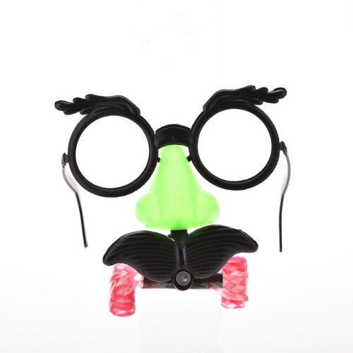 Funny Clown Glasses Costume Ball Round Frame Red Nose w//Whistle Mustache TOCA
