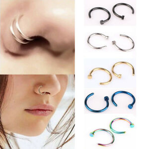 Piercing-Stud-Small-Hoop-Clip-Open-Nose-Ring-On-6-8-10mm-Surgical-Steel-Fake-C