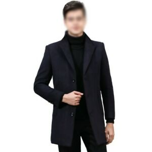 Winter Mens Quilted Wool Blend Jacket Trench Coat Outwear British style Warm L