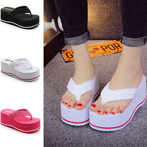 456ba514c Image is loading Womens-Comfortable-Wedge-Platform-Thong-Slip-On-Flip-