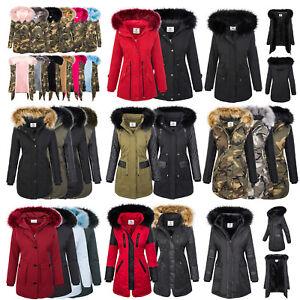 Designer-Damen-Jacke-Parka-Mantel-Winterjacke-warm-gefuettert-Damenjacken-XS-XL