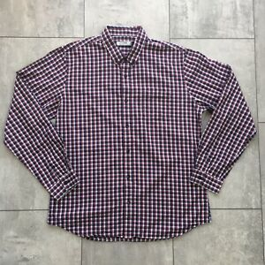 Topman Shirt Size Xl Navy Red White Check Long Sleeve 42 44 100 Cotton Ebay