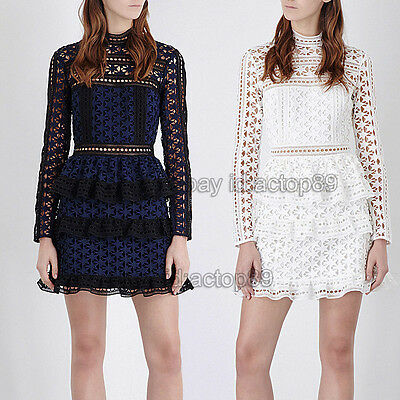 Self Portrait Occident Women High Neck Star Lace Panelled Mini Dress Gift STYLE