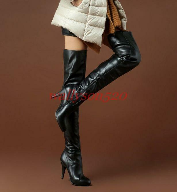 Womens lady Leather Stiletto Zipper High Heel Over The Knee Boots Thigh shoes