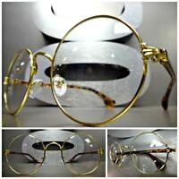 Men Women Classic Vintage Style Clear Lens Eye Glasses Round Gold Tortoise Frame