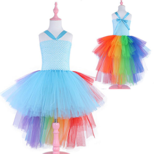 Kid Girls Baby Unicorn Princess Tulle Tutu Dress Birthday Party Princess Costume