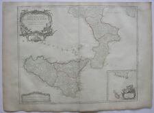 Italien Italia Apulia Sicilia Orig Kupferstich R. Vaugondy 1680 Napoli Malta