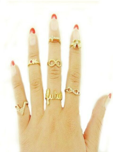 Special 7Pcs/Set V-Shaped Cross Crown Two 8-Word Golden Punk Opening Joint Ring
