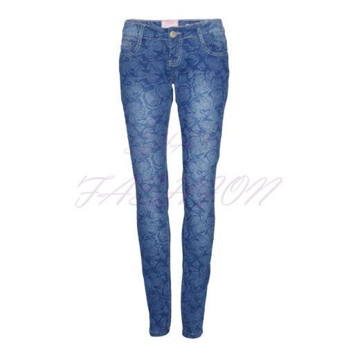 Ladies Womens Stonewash Floral Flower Print Skinny Denim Jeans Pants Trousers