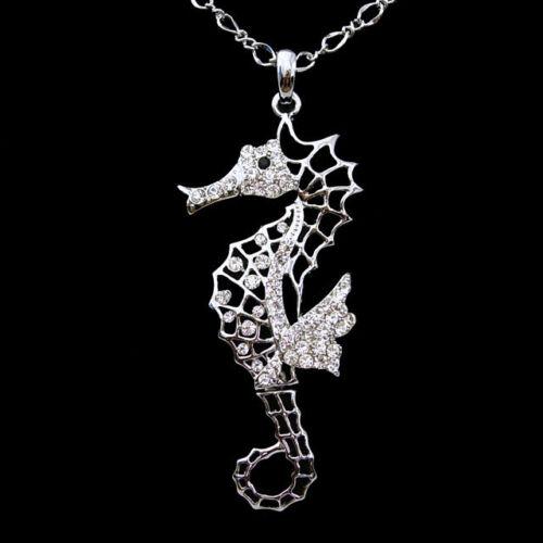 """26/"""" Big Sea Horse Animal Use Autriche Cristal Collier"""