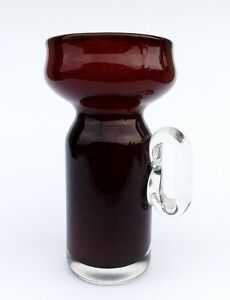 Vintage 1960s Brown ( Ruby Red ) & Clear Vase Design piece Czechoslovakia