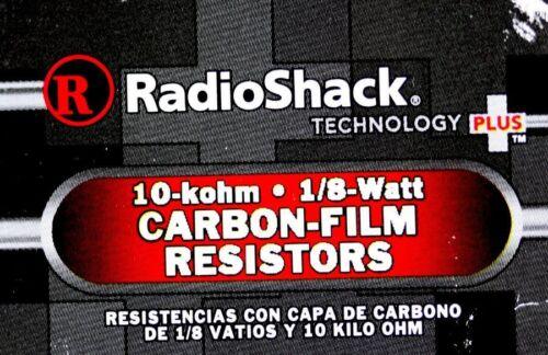 5-Pack Mod No 271-006 RadioShack® 1//8-Watt 10K Ohm Carbon Film Resistors